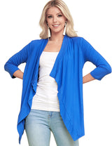 ROYAL | AWOCAL290 3/4 Sleeve Draped Open Front Cardigan