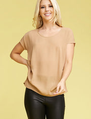 Womens short sleeve pin tuck side slit back blouse.