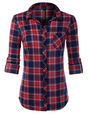 JJ Perfection Women's Long Sleeve Collared Button Down Plaid Flannel Shirt