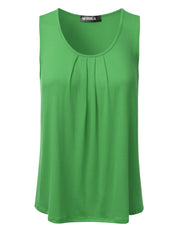 Scooped Neckline Pleated Front Tank Top