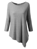 Womens dolman 3/4 sleeve boat neckline asymmetrical hem loose fitting casual top