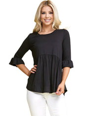 3/4 SLEEVE WITH RUFFLE DETAIL PEPIUM TOP