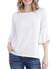 Womens flared 3/4 sleeve boat neckline loose fitting stylish top