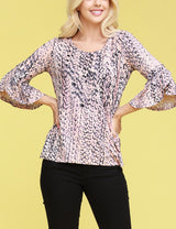 Flared 3/4 Sleeve Boat Neckline Loose Fitting Stylish Top