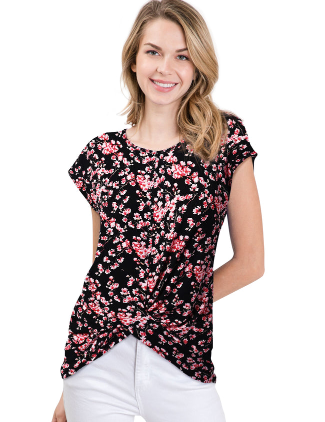 Womens short sleeve round neckline twisted front hem casual top