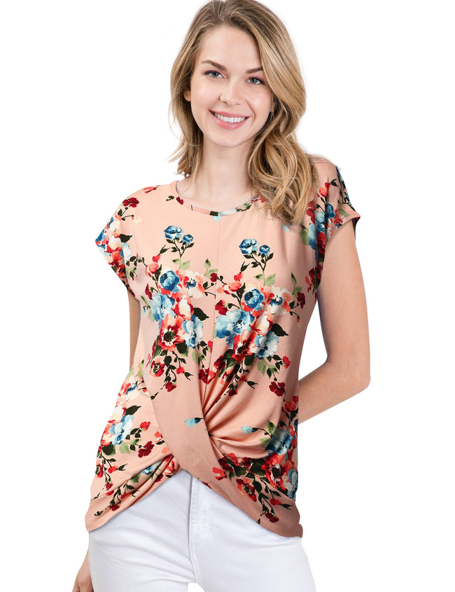 Round Neckline Twisted Front Hem Casual Top