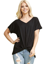 V-Neck Knoted Hem Casual Top