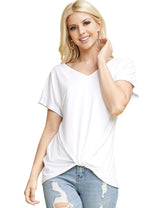 Womens short sleeve v-neck knoted hem casual top