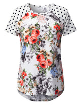 Round Neckline 2 Tone Printed Casual Tee