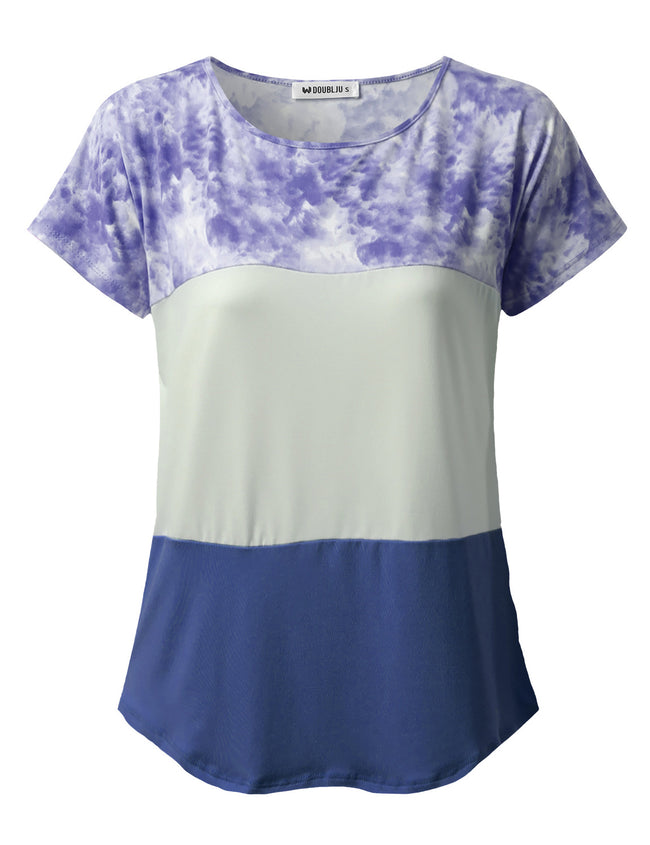 Round Neckline 3 Blocked Casual Tee