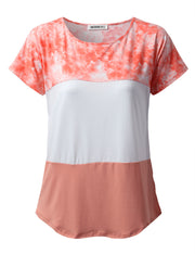 Womens short sleeve round neckline 3 blocked casual tee