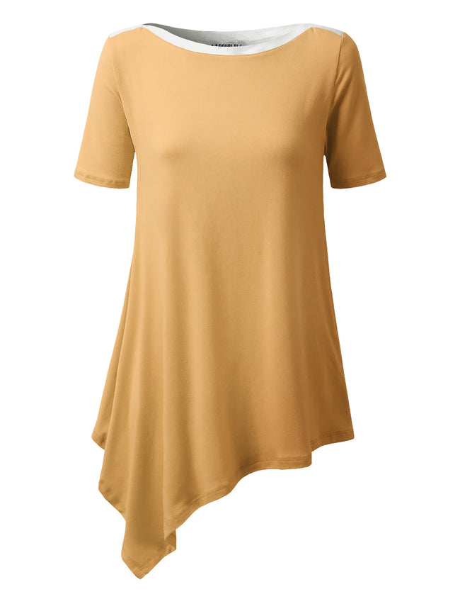 Banded Boat Neckline Asymmetric Hem Lovely Top