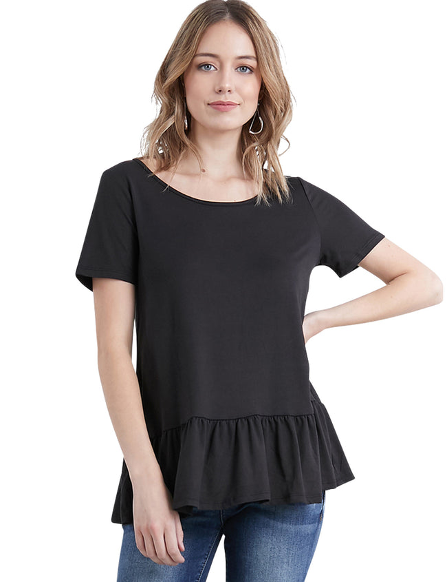 Womens short sleeve boat neckline lovely tee with flared ruffle peplum
