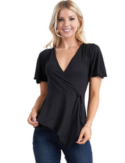 Womens ruffle short sleeve surplice neckline asymmetric hem casual top with side tied strap