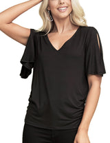 Womens slit short sleeve decollete neckline stylish top