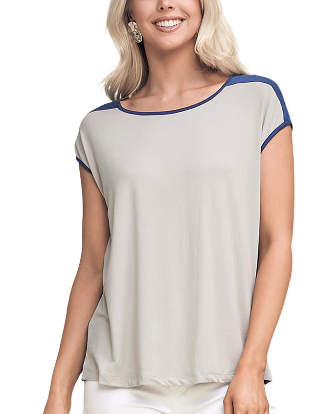 Womens short sleeve boat neckline basic tee with contrast back