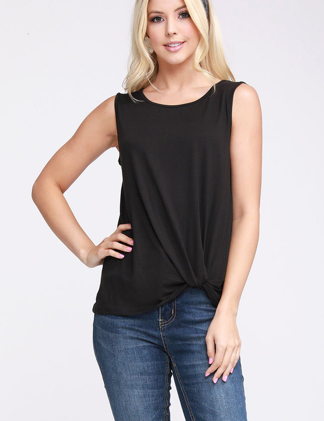 Womens sleeveless round neckline knoted hem basic top
