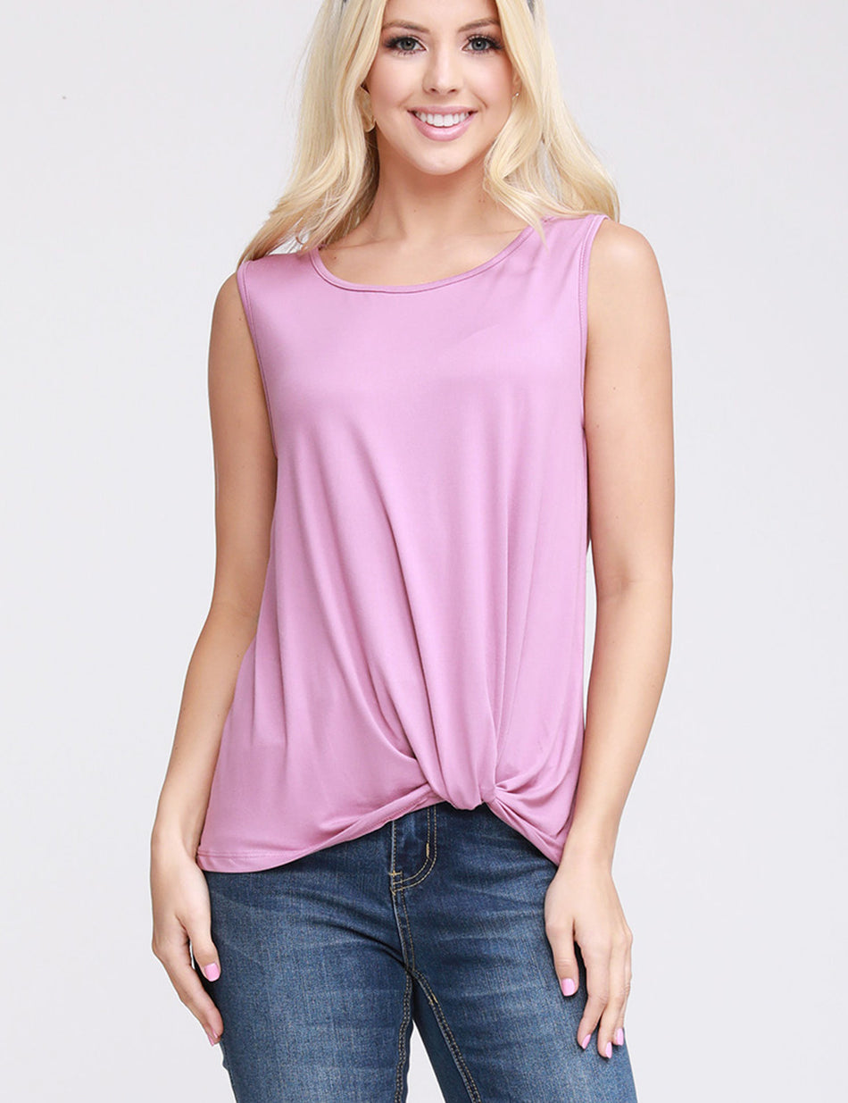 Round Neckline Knoted Hem Basic Top