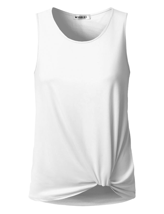 DOUBLJU Women's Floral & Solid Sleeveless Round Neck T-Shirts Plus Size