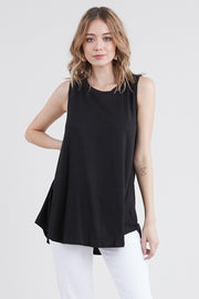 Womens sleeveless round neckline basic top with flared pleated hem