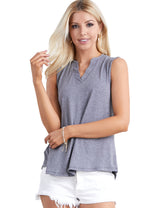 Womens sleeveless slit neckline loose fitting casual top