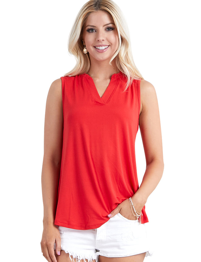 PLACKET NECK SLEEVELESS TOP