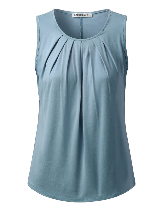 Round Neckline Pleated Front Casual Top