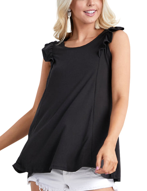 Womens ruffle cap sleeve flared hem lovely top