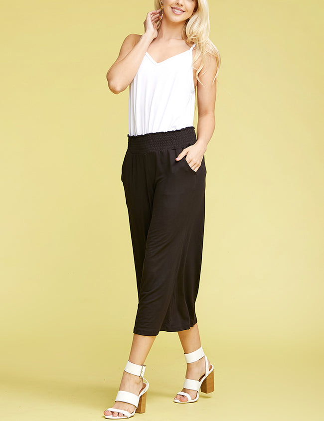 BLACK | CWBLP105 Clam Digger Bell Bottoms Comfortable Pants