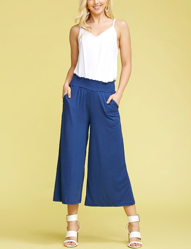 NAVY | CWBLP105 Clam Digger Bell Bottoms Comfortable Pants