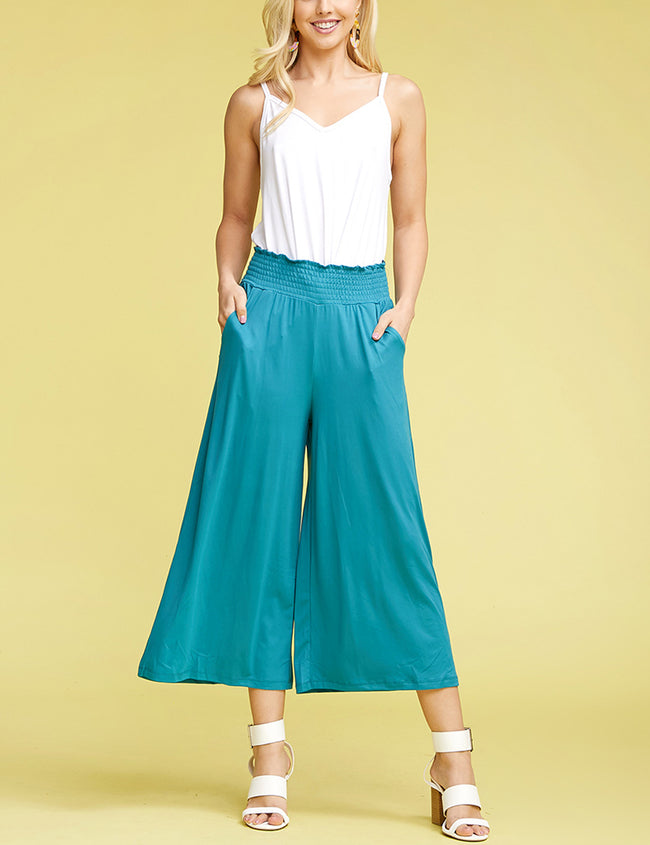 TEAL | CWBLP105 Clam Digger Bell Bottoms Comfortable Pants