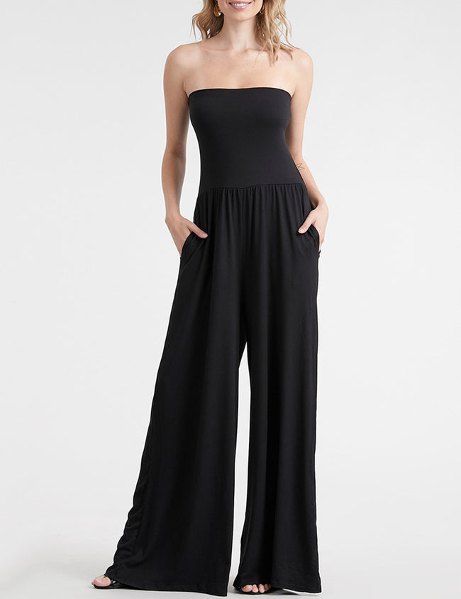 Tight Top Wide Leg Stylish Tube Jumpsuit