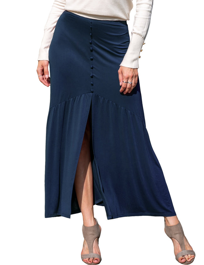 Womens slit front elastic closure maxi skirt with color buttons