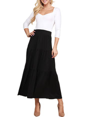 Womens stylish elastic closure tiered maxi skirt