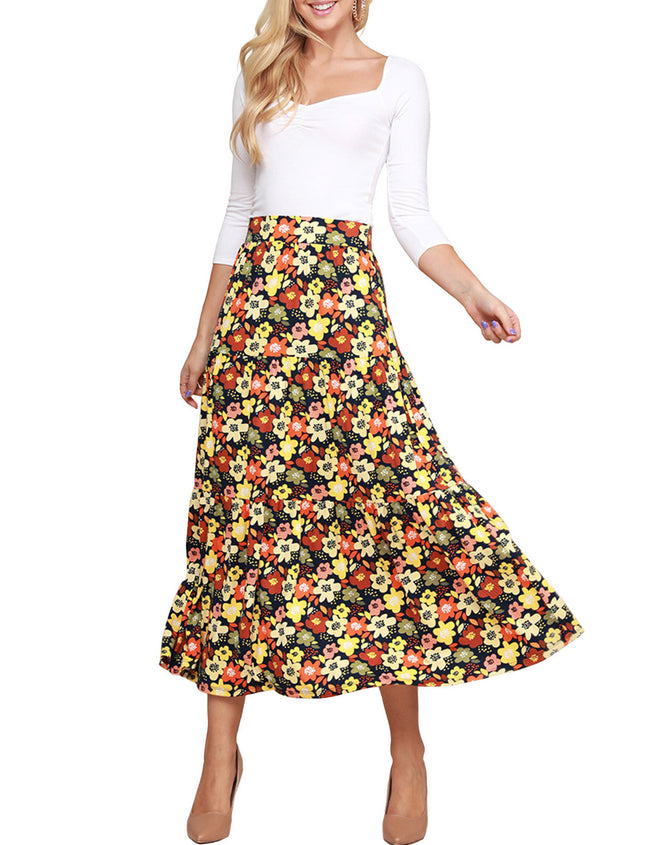 Stylish Elastic Closure Tiered Maxi Skirt
