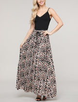 Tied Front Elastic Waist Band Loose Fitting Maxi Skirt