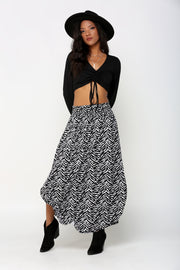 MAXI SKIRT WITH POCKET AND SMOCKING