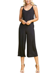 Scopped Neckline Shoulder Tie Closure Wide Leg Jumpsuit
