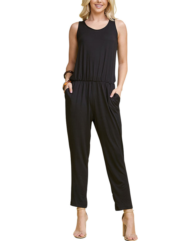 DOUBLJU Women's Sleeveless Round Neck Shoulder Wide Leg Jumpsuits with Plus Size