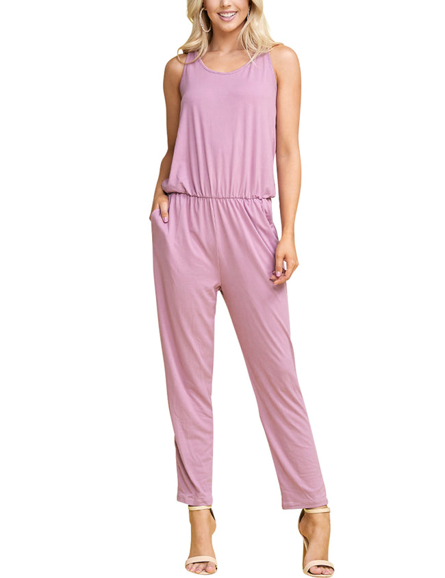 MAUVE | CWDMD134 Scooped Neck Jumpsuit