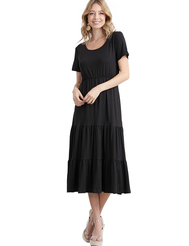 V-Neck Drop Waist Tiered Midi Dress