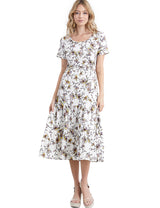 Womens short sleeve v-neck drop waist tiered midi dress