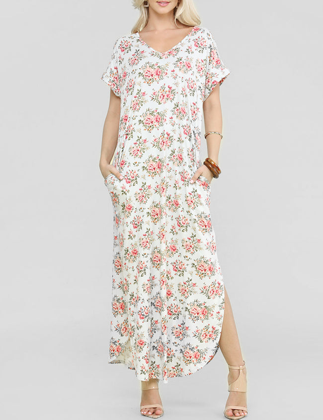 Decollete Neckline Loose Fitting Maxi Dress