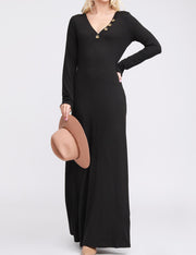 Womens long sleeve decollete banded buttons maxi dress