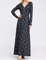 Decollete Banded Buttons Maxi Dress
