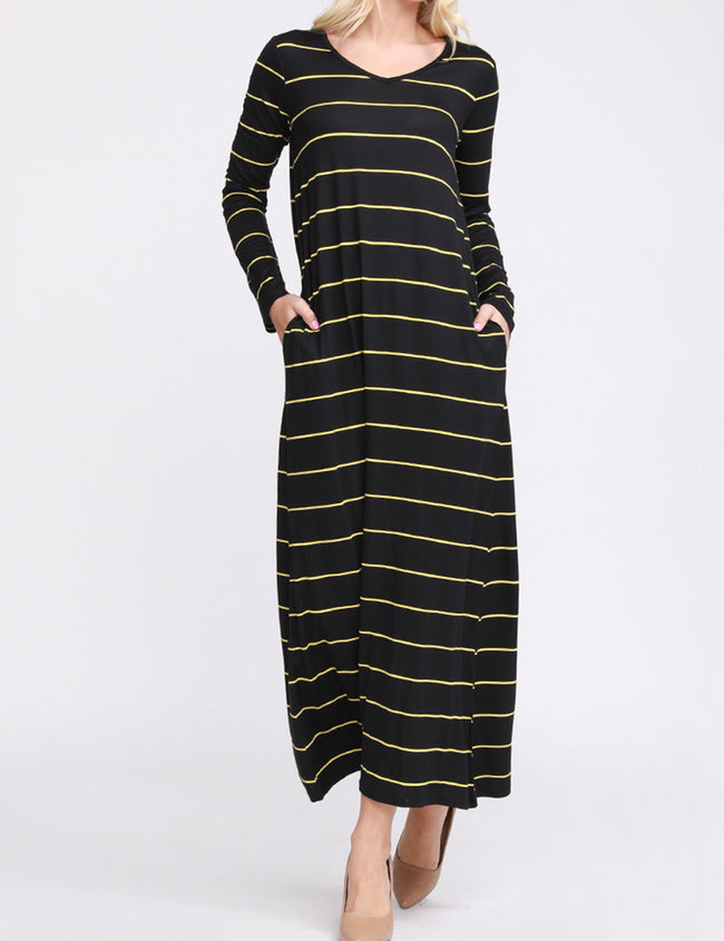 Womens long sleeve v-neck loose fitting maxi dress with side 2 hand pockets