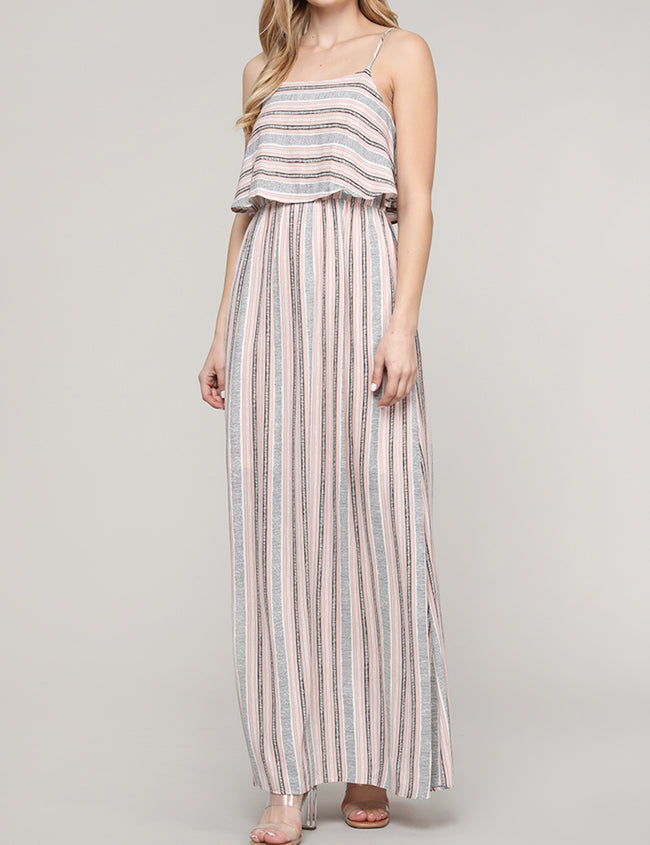 Womens layered top loose fitting pretty maxi dress with spaghetti strap and elastic band