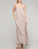 Womens camisole neckline loose fitting buttoned maxi dress with 2 side hand pockets