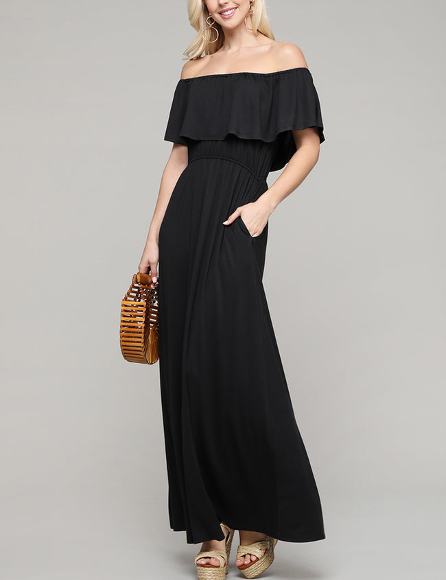Layered Ruffle Off The Shoulder Maxi Dress