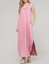 Womens camisole neckline loose fitting slit side shirring front maxi dress with 2 side hand pockets